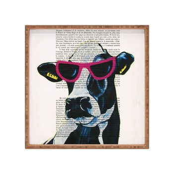 Tavă decorativă din lemn Cool Cow, 40 x 40 cm de la Unknown
