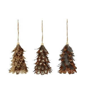 Sada 3 vánočních závěsných dekorací z peří Villa Collection Feathers, výška 10 cm