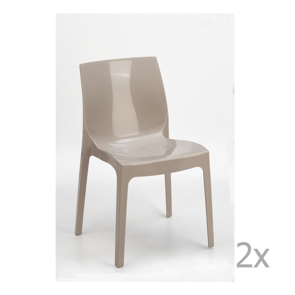 Sada 2 béžových jídelních židlí Castagnetti Ice