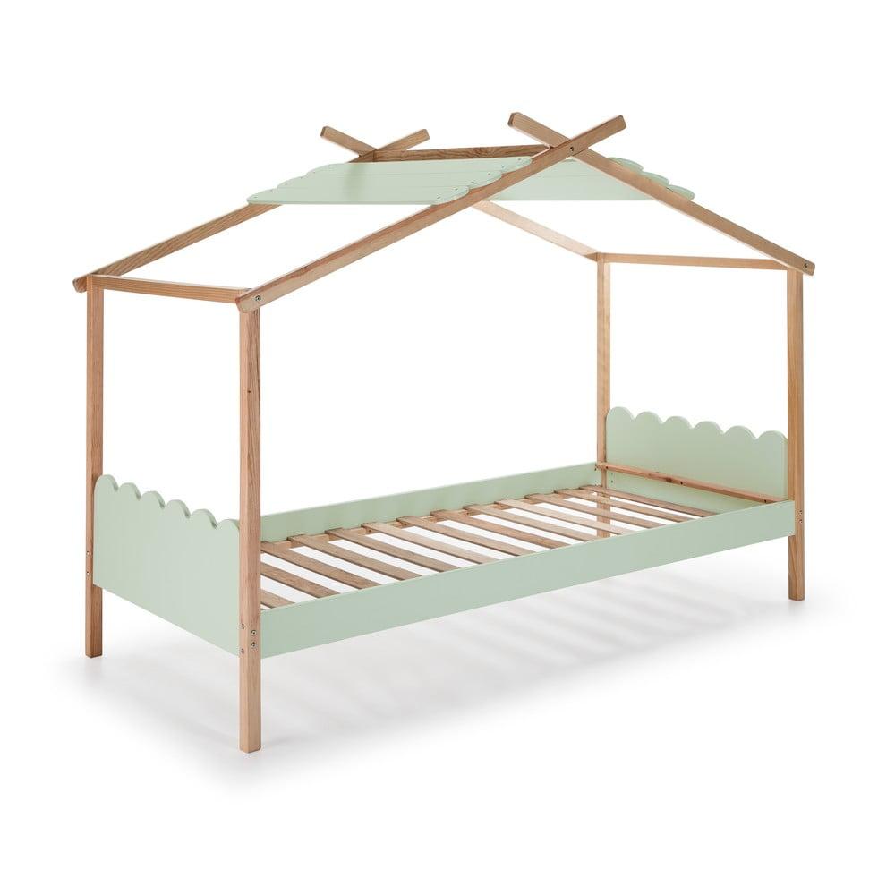 Zelená dětská postel s konstrukcí z borovicového dřeva Marckeric Nuvem,90x190cm