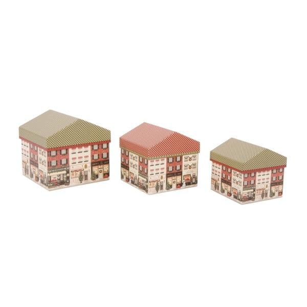 Sada 3 úložných krabic Houses