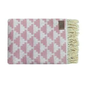 Růžový bavlněný pléd Triangles, 130x170cm