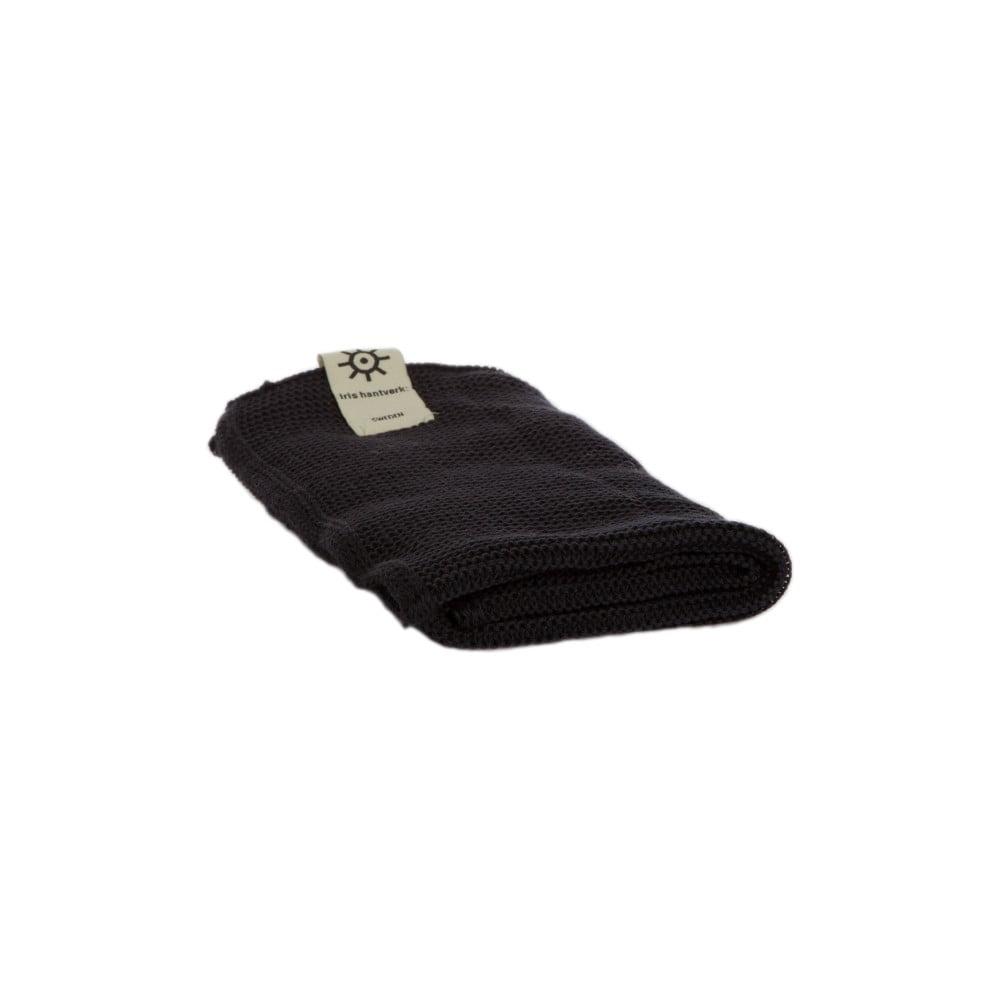 Černý ručník z eko bavlny Iris Hantverk, 45 x 50 cm