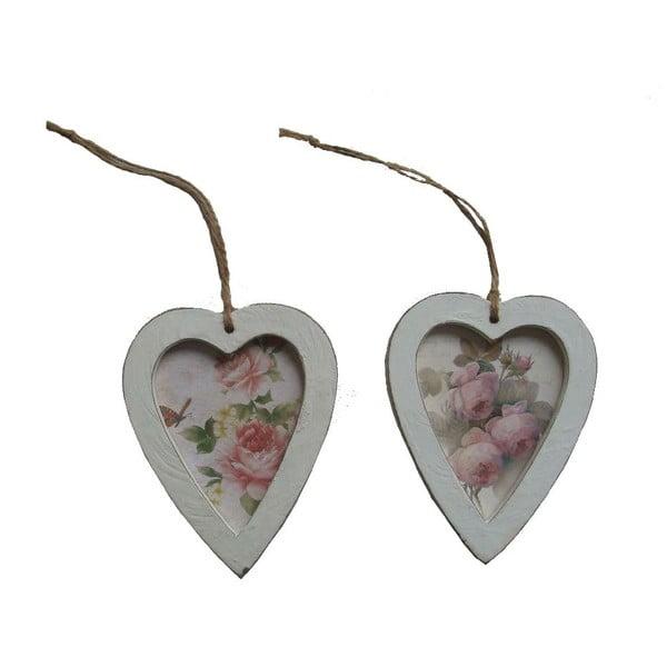 Set 2 dekorativních závěsných srdcí AnticLine