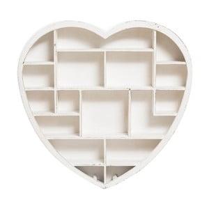 Dřevěná nástěnná knihovna Biscottini Heart,79x81cm