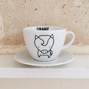 Hrneček na kávu s podšálkem FOR.REST Design Horse,200ml