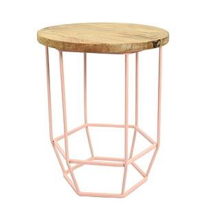 Růžový stolek se snímatelnou deskou z mangového dřeva HF Living Hexa Blush mini