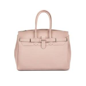 Pudrově růžová kožená kabelka Carla Ferreri Enrica