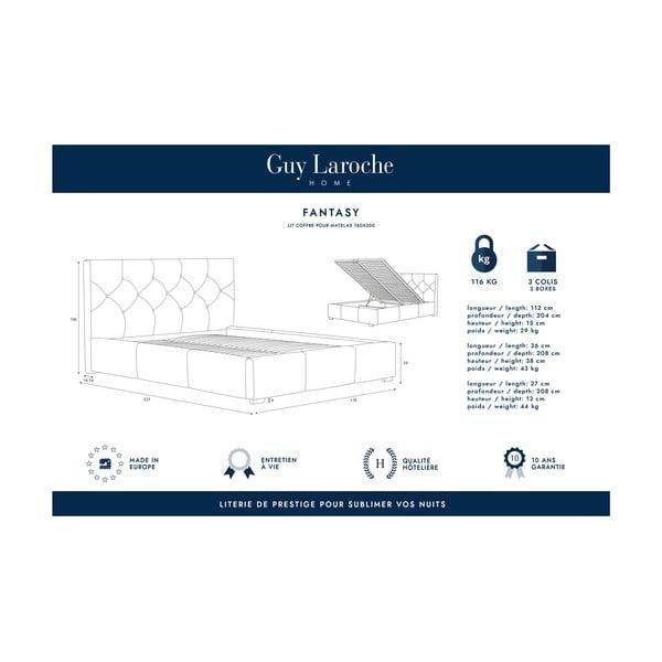 Krémově bílá dvoulůžková postel s úložným prostorem Guy Laroche Home Fantasy, 160x200cm