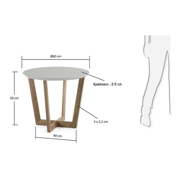 Odkládací stolek z dubového s šedou deskou La Forma Rondo