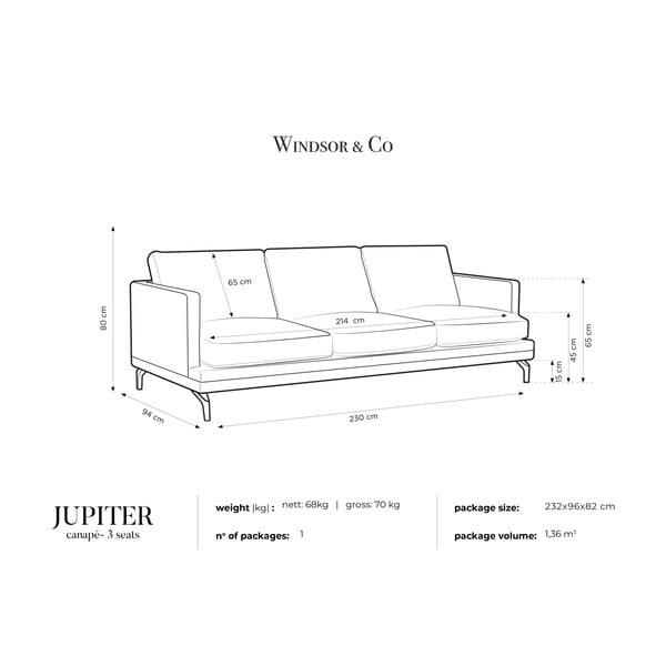 Tmavě šedá trojmístná pohovka s podnožím ve zlaté barvě Windsor & Co Sofas Jupiter