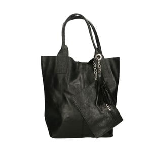 Černá kožená kabelka Roberto Buono Valy