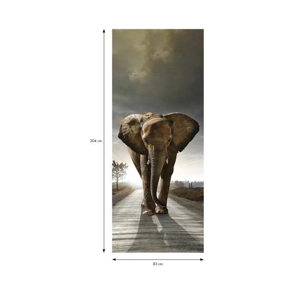 Adhezivní samolepka na dveře Fanastick Elephant