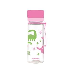 Láhev na vodu s růžovým víčkem a potiskemAladdin Aveo Kids Bloom,350ml