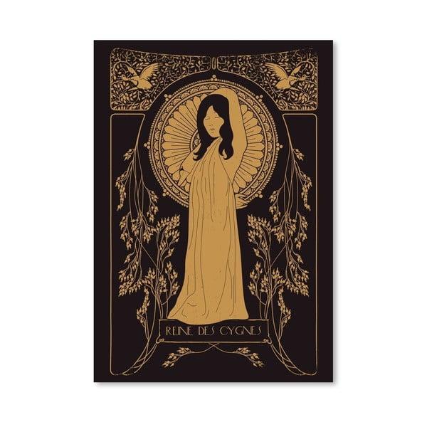 Plakát Reine Des Cygnes - Golden od Florenta Bodart, 30x42 cm
