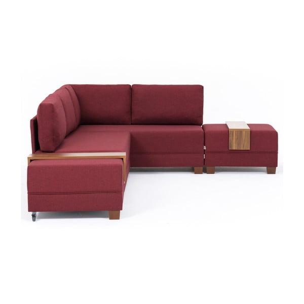 Home Diana borvörös kinyitható kanapé és 2 áthelyezhető tartó, jobb sarok - Balcab