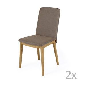 Sada 2 jídelních židlí s podnožím z dubového dřeva  Woodman Adra Naturo Medium
