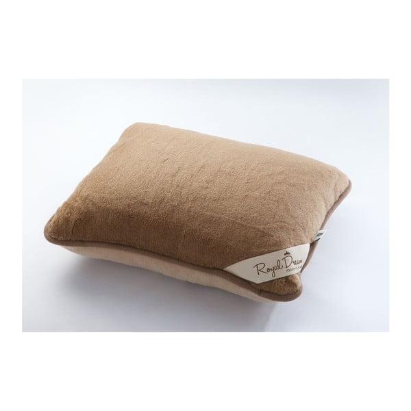 Hnědý polštář z merino vlny Royal Dream,50x60cm