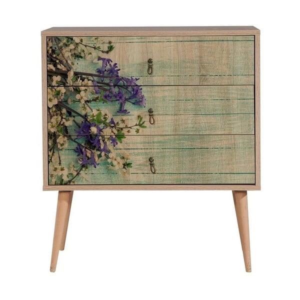 Dřevěná komoda se 3 šuplíky Kasiani Flower