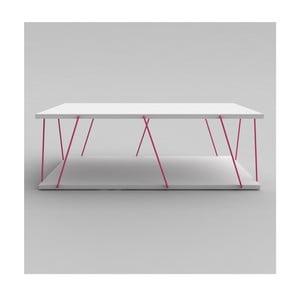Bílý konferenční stolek s růžovým detailem Rafevi Tars