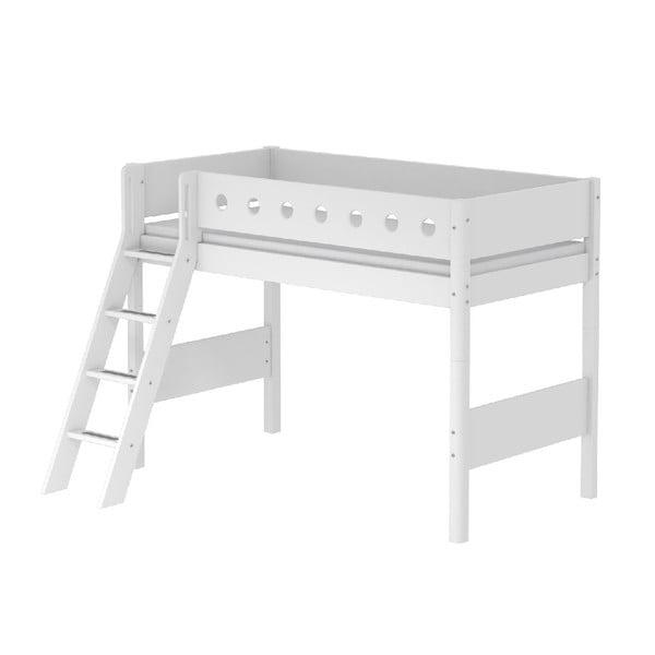 Białe duże łóżko dziecięce z drabinką Flexa White, 90x200 cm