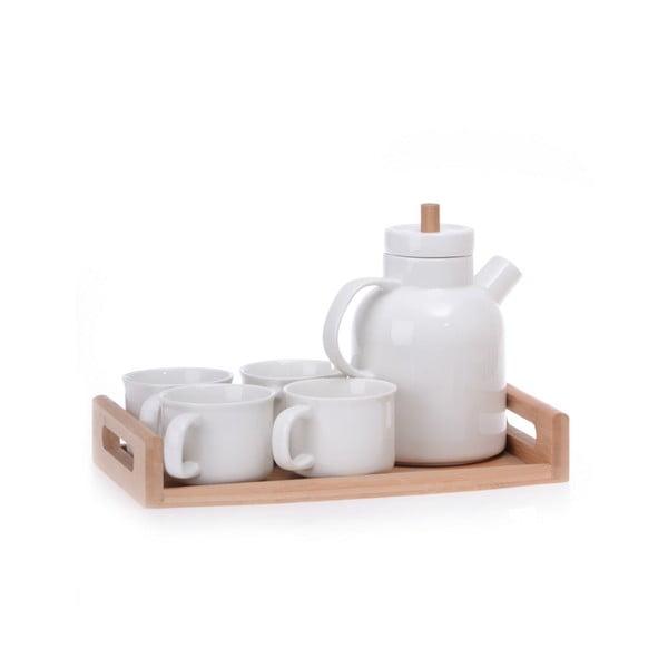 Set din porțelan cu tavă din bambus pentru ceai Jordan