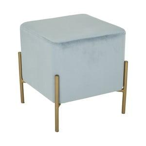 Světle modrý puf s železnými nohami ve zlaté barvě Mauro Ferretti Rotondo