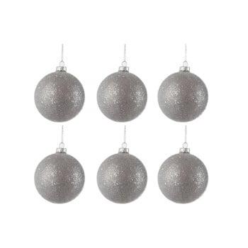 Set 6 globuri din sticlă pentru Crăciun J-Line Bauble, ø 8 cm, argintiu imagine
