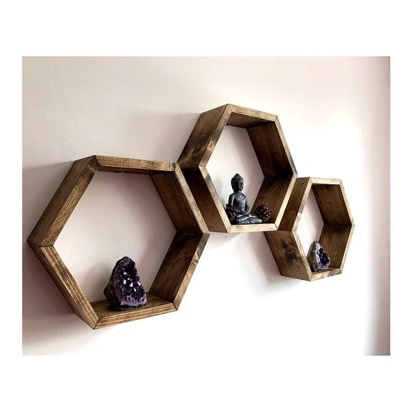 Set 3 rafturi din lemn de perete Evila Originals Bee