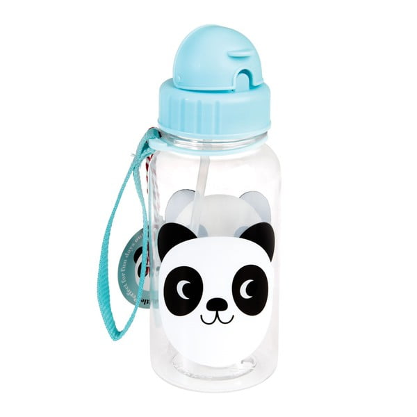 Sticlă cu pai Rex London Miko The Panda, 500 ml, albastru