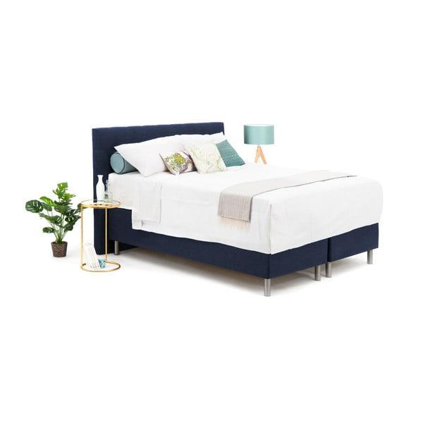 Tmavě modrá boxspring postel VivonitaKoso, 160x200cm