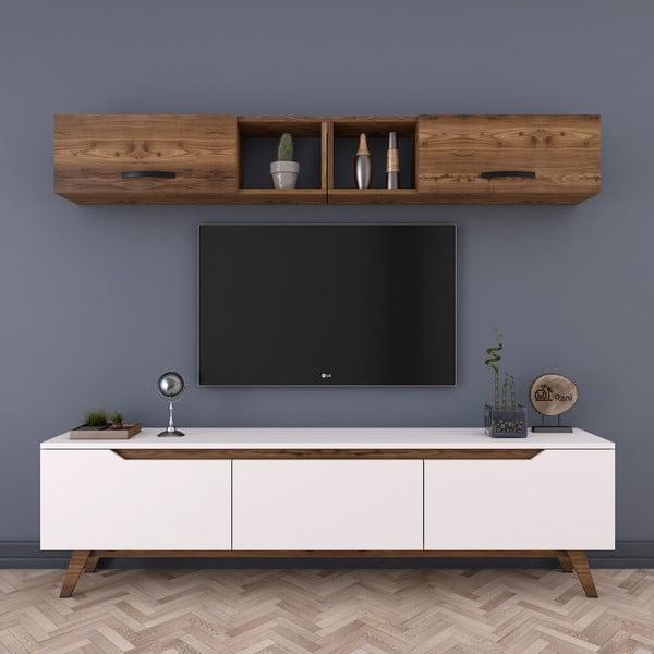 Zestaw białej szafki pod TV i szafki ściennej w dekorze drewna orzechowego Rani