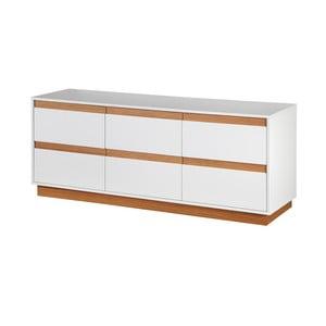 Bílá komoda se soklem a dřevěnými detaily Dřevotvar Ontur11