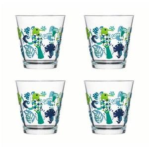 Set 4 pahare  Sagaform Fantasy 200 ml, verde-albastru