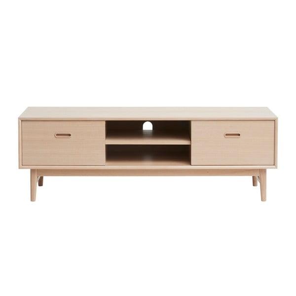 TV stolek ze dřeva bílého dubu Unique Furniture Rocca