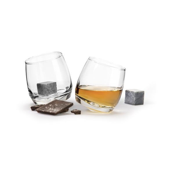 Zestaw 2 szklanek na whisky z kamieniami chłodzącymi Sagaform Gentleman, 200 ml
