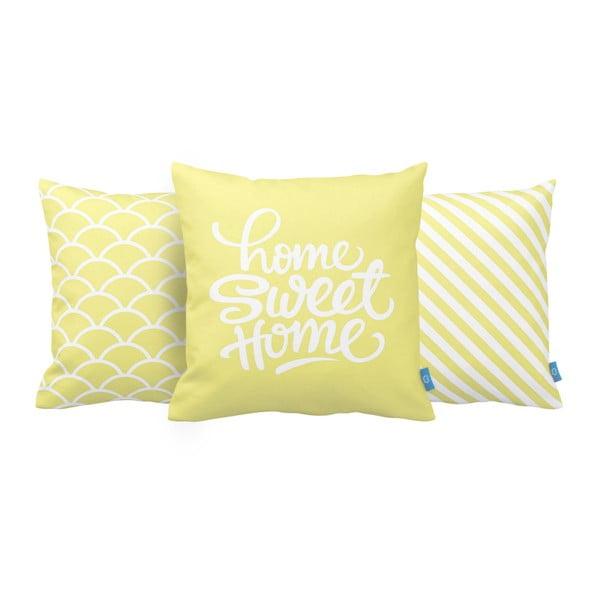 Sada 3 polštářů Home Sweet Home, 43x43 cm, žlutá
