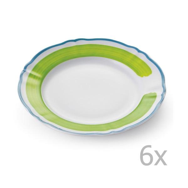 Sada 6 talířů Giotto Green/Turquoise