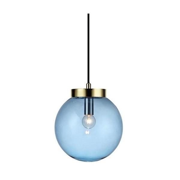 Závesné svietidlo v modro-zlatej farbe Markslöjd Ball Two, ⌀22 cm
