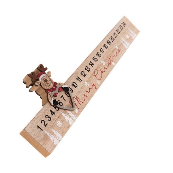 Drevený podlhovastý adventný kalendár Sob Dakls, dĺžka 40 cm