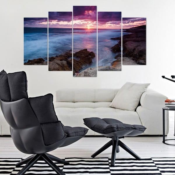 5dílný obraz Lila Sea, 60x100 cm