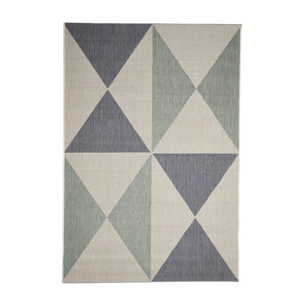 Béžovo-modrý venkovní koberec Floorita Geo, 135 x 190 cm