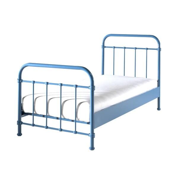 Niebieskie metalowe łóżko dziecięce Vipack New York, 90x200 cm