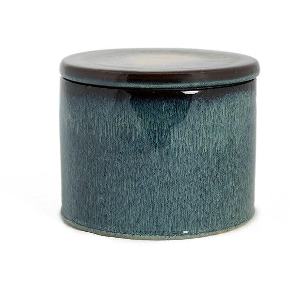 Šedomodrá keramická dóza Simla Soft, výška12,2cm