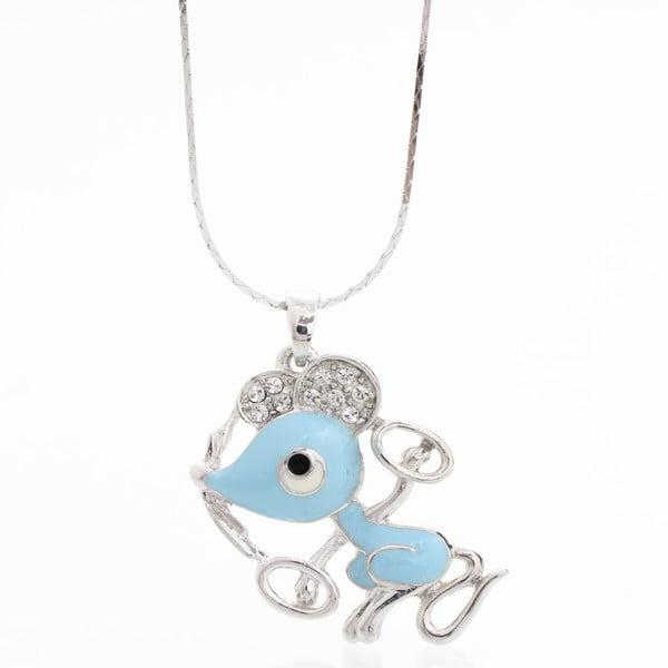 Náhrdelník se Swarovski Elements, modrá myška