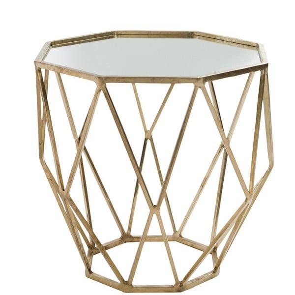 Zlatý odkládací stolek se zrcadlovou deskou Geometry, Ø55 cm