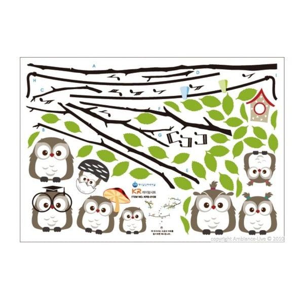 Sada samolepek Ambiance Owls Singing on Tree