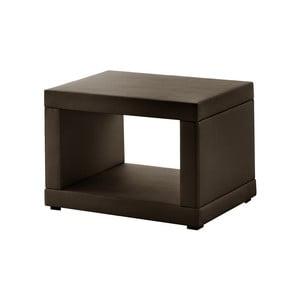 Hnědý koženkový noční stolek Novative