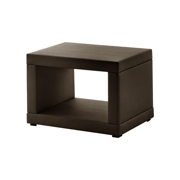Hnedý koženkový nočný stolík Novative