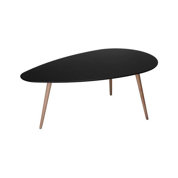 Czarny stolik z nogami z drewna bukowego Furnhouse Fly, 116x66 cm